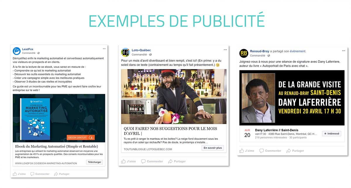 Exemples Facebook Ads